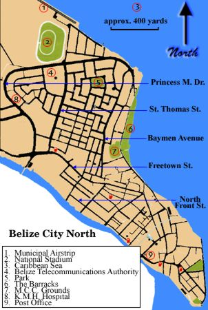Belize City North Map - Click to enlarge